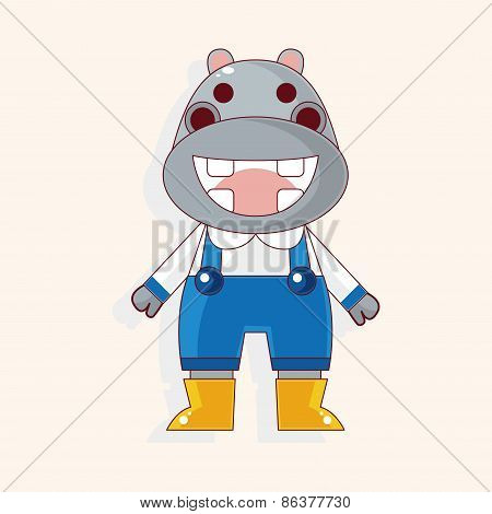 Animal Hippo Winter Cartoon Theme Elements