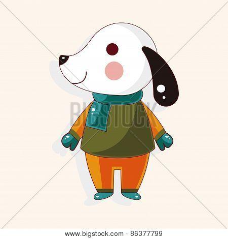 Animal Dog Winter Cartoon Theme Elements