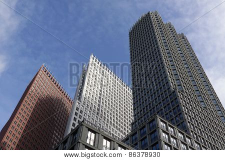 Hague Skyline Formed By The High Rise Buildings In The Wijnhavenkwartier In The Hague