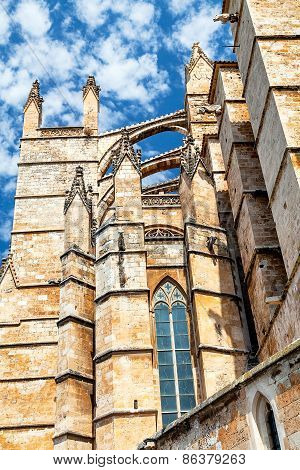 Wall Gothic cathedral in Palma de Mallorca on the sky background