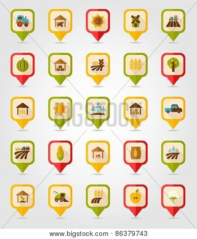 Farm Field flat mapping pin icon with long shadow