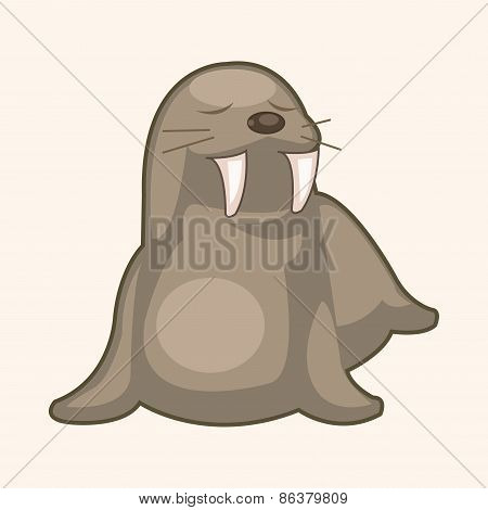 Animal Sea Lion Cartoon Theme Elements