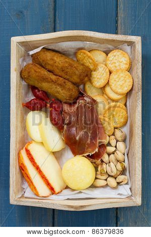 Meat Croquete With Cheese, Nuts And Cookies