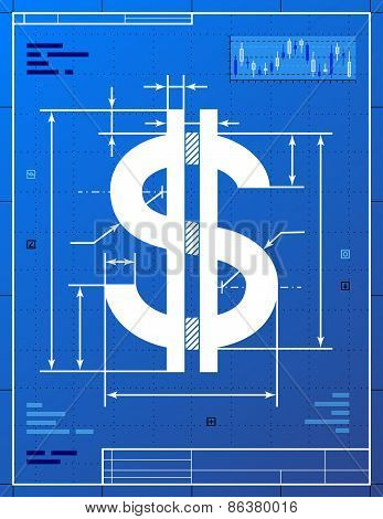 Dollar Sign As Blueprint Drawing