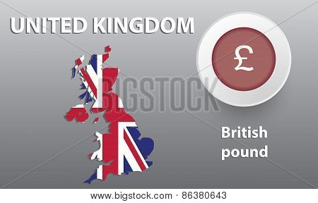 illustration map of Great Britain, the button with the currency