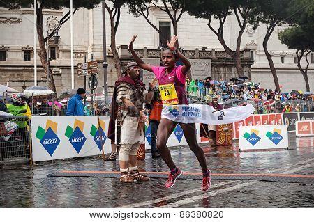 Tolwalk Meseret, Won The Women's Race At The Rome Marathon