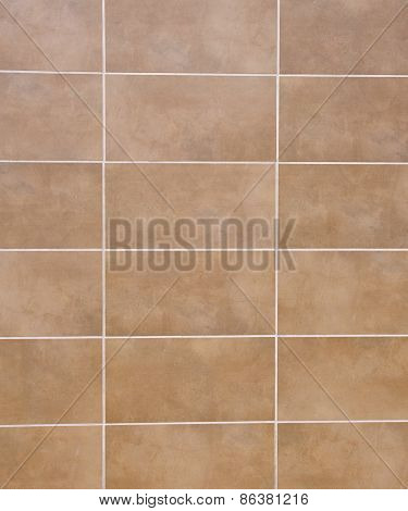 Brown Ceramic Tiles With White Fugue On Wall