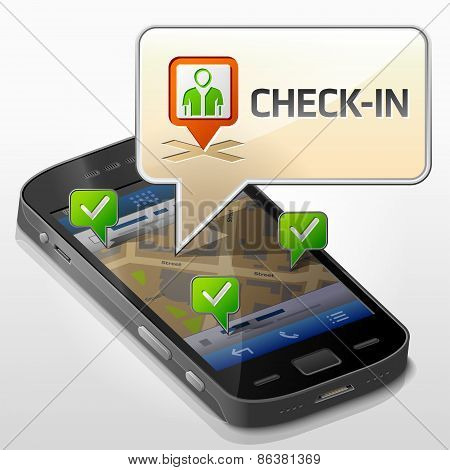 Smartphone With Message Bubble About Check-in