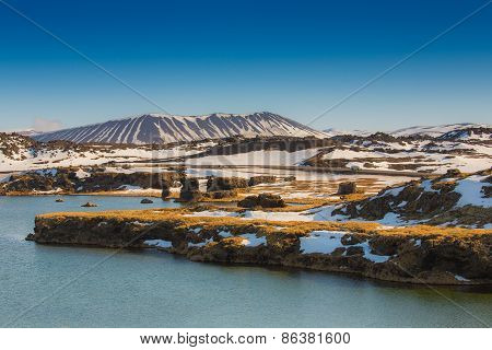 Valcano mount and lake in Myvatn