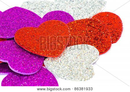 Hearts With Many Colored Rhinestones