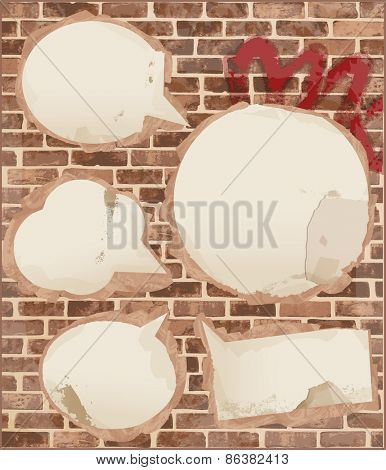 Speech bubbles on brick wall texture