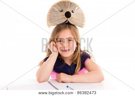 Blond kid girl student with hedgehog book on white background