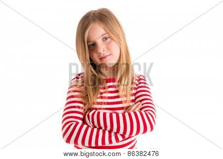 Blond kid girl sad serious gesture expression gesture crossed arms on white