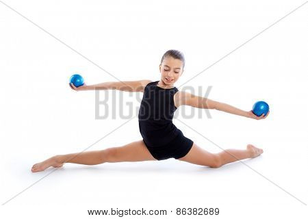 Fitness weighted Yoga Pilates balls kid girl exercise workout on white background