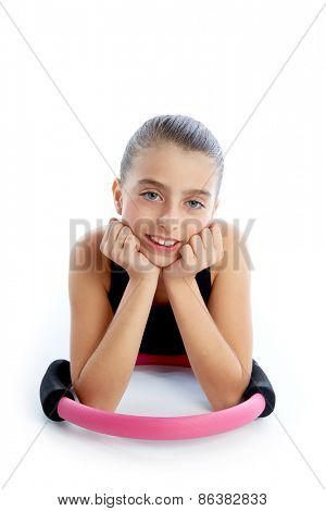 Fitness pilates yoga ring kid girl exercise workout on white background