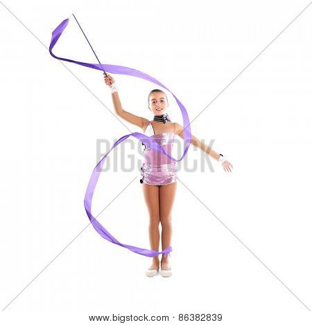 Kid girl ribbon rhythmic gymnastics exercise on white background
