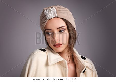 beautiful stylish woman in oriental style in turban