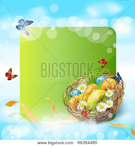 background with Easter nest and eggs