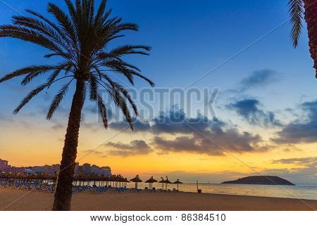 Mallorca sunrise in Magaluf Palmanova beach Magalluf in Balearic Islands Spain