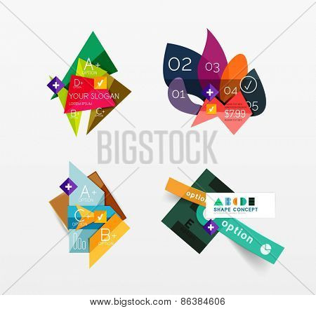 Set of vector abstract geometric layouts, web or app design banners, paper infographic banners