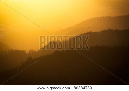 Vibrant sunset in Black Forest, Germany