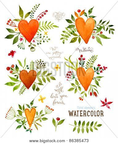 Floral Set with Watercolor Flowers for Summer or Spring Cards, Invitations, Flyers, Banners or Posters Design. Aquarelle Flowers, Hearts and Leaves Collection for Greeting and Wedding Cards