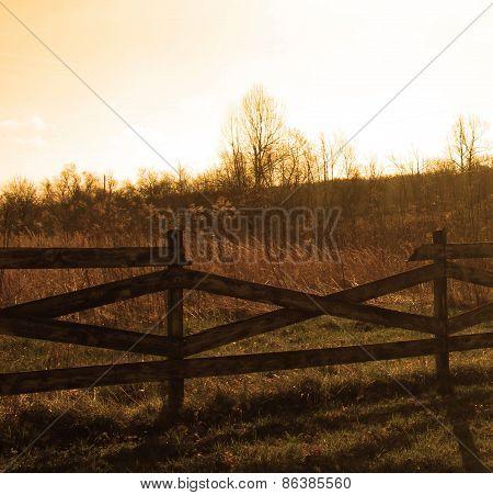 Fence with sky orange hue