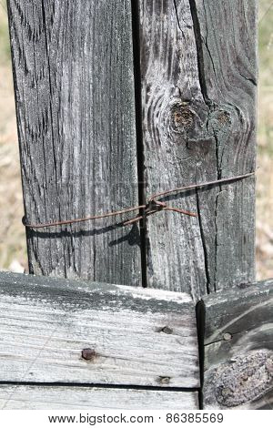 Old Fence with Nails and Rusty Wire