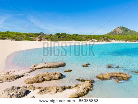 Majorca Cala Agulla beach in Capdepera Mallorca at Balearic Islands of Spain