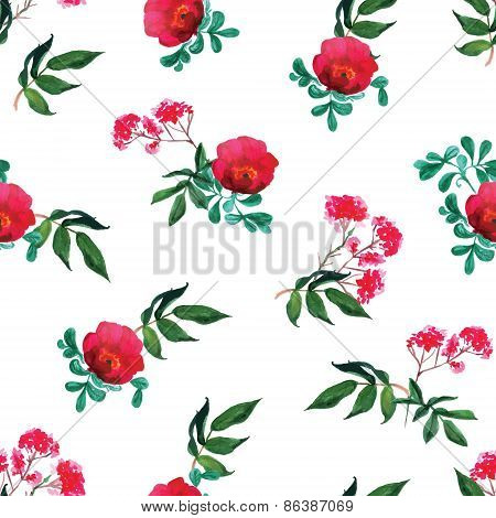 Red Dog-rose Watercolor Seamless Vector Print