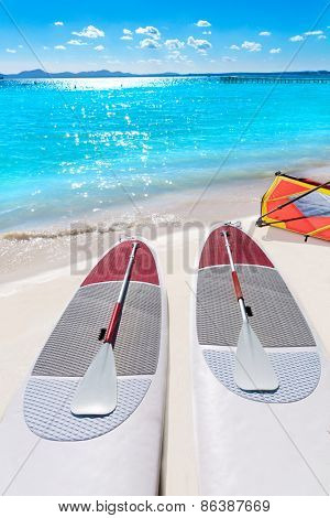 Platja de Alcudia beach Paddle surf board in Mallorca Majorca at Balearic islands