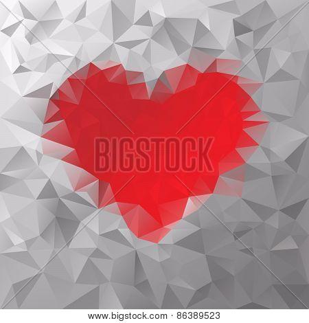 Vector Polygonal Background Pattern - Triangular Valentine Design - Red