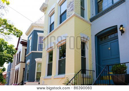 Georgetown historical district townhouses facades Washington DC in USA