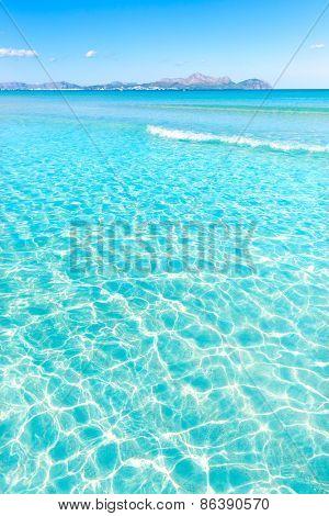 Mallorca Can Picafort beach in alcudia bay at Majorca Balearic islands of Spain