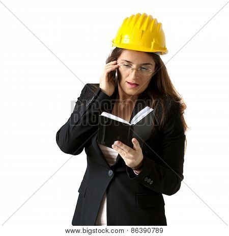 Female Engineer With Pocket Diary And Smartphone