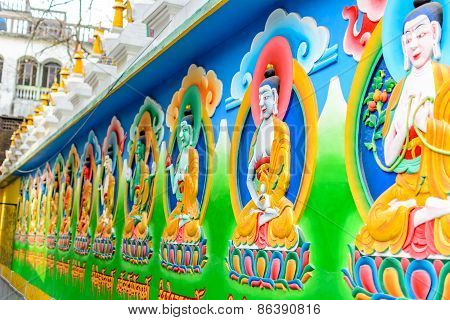 Buddha painting on the monastery wall