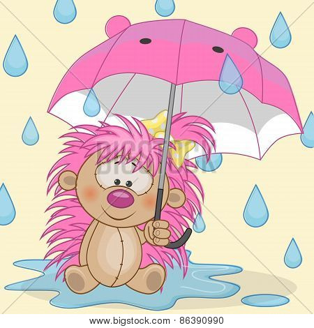 Hedgehog Girl With Umbrella