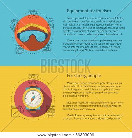 Hiking equipment flat color vector illustration