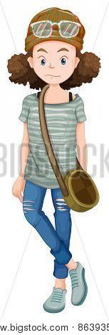 Close up hipster with a handbag