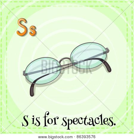 Flashcard letter S is for spectacles