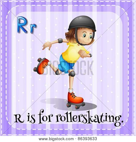 Flashcard letter R is for rollerskating