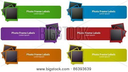Six different color photo frames labels