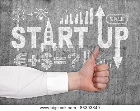 Thumb Up And Start Up