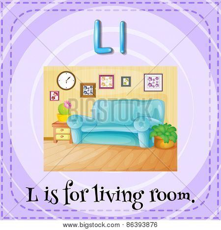 Flashcard letter L is for living room