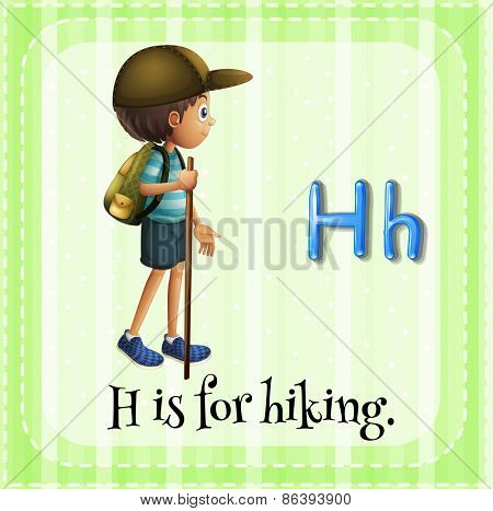 Flashcard letter H is for hiking