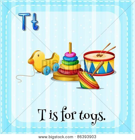 Flashcard letter T is for toys