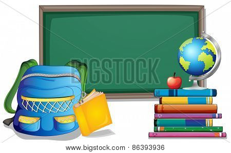 Empty blackboard with backpack and books on the sides