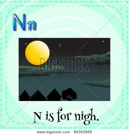 Flashcard letter N is for night