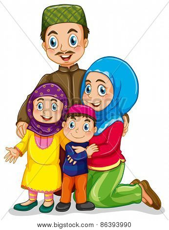 Muslim family with father and mother