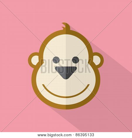 Modern Flat Design Monkey Icon.